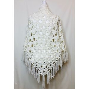 Vintage George of SF crochet knit open shawl cape